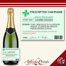 Personalised Champagne Label Prescription Pharmacy Custom Sticker Gift Present