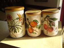 8 x  Portmerion pottery lidded storage jars, FRUIT & FLORAL, VGC, ALL SIZES.