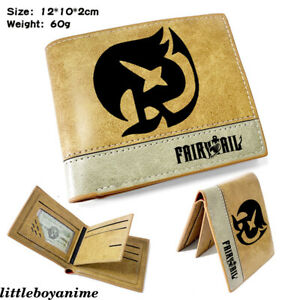 Fairy Tail Leather Wallet Unisex Embossing Short Purse Khaki Card Pack Gifts