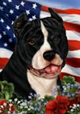 Patriotic (1) House Flag - Black and White American Pit Bull Terrier 16405