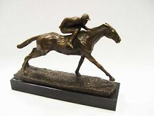 BRONZE SCULPTURE JOCKEY AND HORSE 8.42""