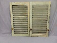 Pair Antique House Window Wood Louvered Shutters 27x15 Shabby Vtg Chic 306-18P
