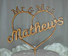 Personalised Rustic Mr&Mrs Surname Wedding Cake Topper, Romantic,Love, Wooden