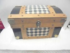 small rounded top trunk hope chest with tray photography prop metal & fabric #2