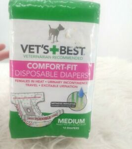 Out Vets Best Comfort-Fit Disposable Female Dog Diaper 12pk Medium No Leaks