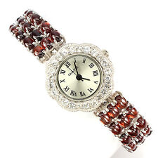 Sterling Silver 925 Stunning Genuine Natural Cabochon Garnet Watch 7 Inches