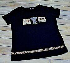 Jason Maxwell Top Size Small Safari Animals Black T Shirt