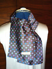 100% woven silk men's cravat/scarf Blue/pink/white circles on dark grey NEW