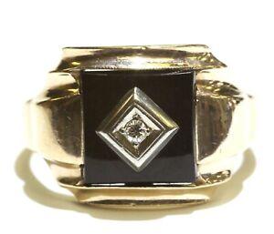 10k yellow gold .05ct VS G diamond onyx mens ring 7.3g gents size 14.5