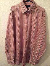 Next Mens Slim Fit Long Sleeved Pink Stripes 16 1/2 Collar