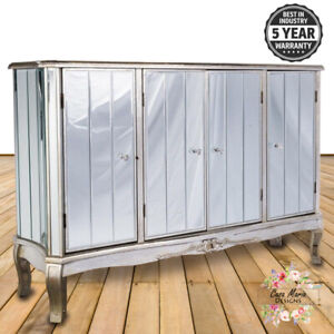 Antique Large Mirrored Glass Sideboard Cabinet Cupboard Shabby Chic French Style