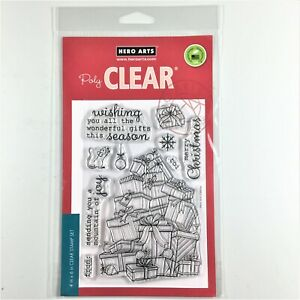Hero Arts Mountain Of Joy Clear Stamp Set Christmas Gifts Mouse Greetings