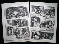 GRANDAD AT CHRISTMAS PIG HORSE COUNTRY HOUSE 2 x VICTORIAN GENRE PRINTS 1888