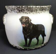 BLACK LABRADOR RETRIEVER DOG CERAMIC BEAN POT SPONGEWARE FLOWER POT PLANTER