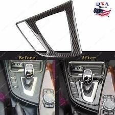 Real Carbon Fiber Gear Shift Panel Interior Trim sticker For BMW 3 4 Series