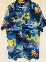 Palmwave Hawaii Theme Hawaiian Shirt Men's XL Ukulele Postcard Cruise
