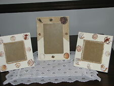 NEW! LOT OF 3  SEASHELL BEACH HOME SUMMER COTTAGE PHOTO PICTURE FRAMES