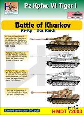 """H-Modelo Decals 1/72 pz. Kpfw. VI Tiger I batalla de Kharkov (PZ. KP. """"Das Reich""""), P"""
