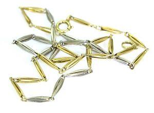 "Art Deco Platinum & 14K Yellow Gold Torpedo Link 14"" Choker Chain Necklace"