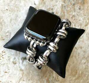 Silver Color Double Chain Link Bracelet for Apple 38 40 42 44mm Watch All Series