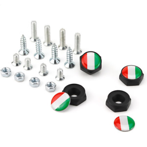 Italy Italian Flag Emblem Car License Plate Frame Screws Bolts Caps Covers Nuts