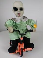 """12"""" Halloween Animated Baby Doll on Tricycle Prop Decoration Creepy Goth Doll"""