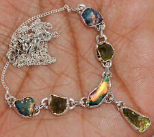 'Solid 925'' Sterling Silver Ethiopian Opal Rough & Moldavite Necklace SN18215