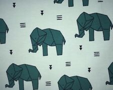 25 cm Jersey Kinderstoff Origami Elefanten Auf Mint Türkis