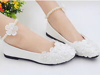 NEW Lace white crystal Wedding shoes Bride flats low high heel wedge size 5-10