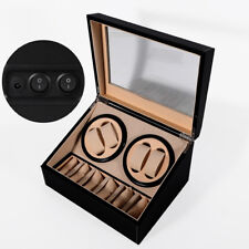 4+6 Automatic Rotation Leather Wood Watch Winder Storage display Case Black USA
