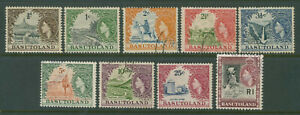 """1961 Basutoland VF used set of 9 stamps """"Local Scenes etc."""" good value here!"""