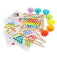 Holz Montessori Spielzeug 7 Farbe Perlen Clip Spiel Spielzeug Set Kinder