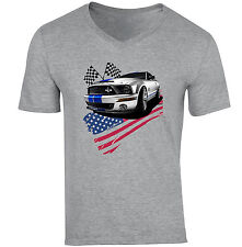 FORD Mustang GT 1-NUOVA cotone grigio V-Neck T-shirt