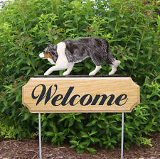 Border Collie Dog Breed Oak Wood Welcome Outdoor Yard Sign Blue Merle