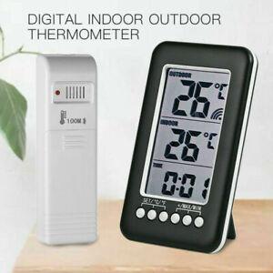 ℃/℉ Digital Wireless Indoor/Outdoor Thermometer Clock Temperature Meter UK-Stock
