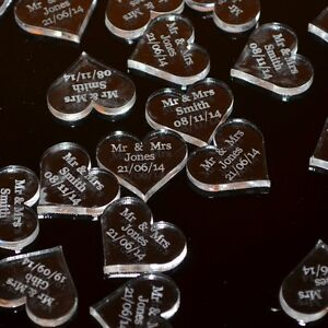 Personalised 25mm Clear Acrylic Heart Wedding Table Decorations, Vintage Favours