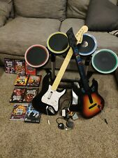 Rock Band Drums, 2 Guitars, Wireless Dongle, Pedal Stand For PS4 PS3 PS2 + Games