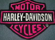 HARLEY DAVIDSON HAND CARVED RUG  HOT PINK 100% Acrylic Bar & Shield Logo