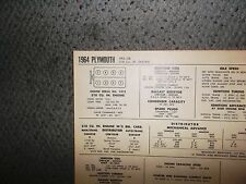 1964 Plymouth Series VP2 Models 318 CI V8 SUN Tune Up Chart Sheet Great Shape!