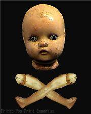 Victorian Doll Art Print 8 x 10 - Skull Crossbones - Goth Horror - Dark Art