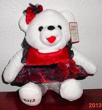 "2013 WalMART CHRISTMAS Snowflake TEDDY BEAR White a Girl 13""Black/red OutfitNWT"