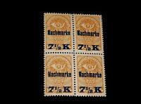 Vintage Stamp, AUSTRIA GERMAN OVERPRINT, 1920 BLOCK OF 4, MNH, #J102/A43, 7 1/2c
