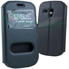 Custodia flip cover stand Nero per Samsung Galaxy S3 mini i8190 case 2 finestre