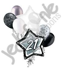 7 pc 21st Elegant Star Happy Birthday Balloon Bouquet Decoration Black & White