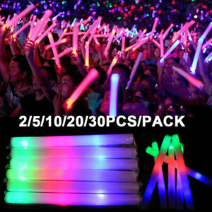 Light Up Multi Color LED Foam Stick Wands Rally Rave Cheer Batons Party Flashing
