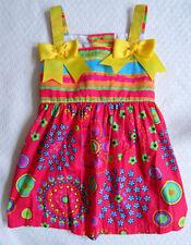 Jessica Ann 2T Toddler Girls Summer Sundress Pink Yellow Ribbon Flower Stripes