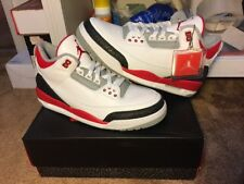 New Air Jordan 3 Retro Fire Red White Silver Black Size 10 (136064-120)