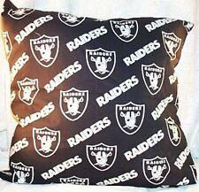 "Home Decor Pillow Raiders Football Black Silver 18"" inches Square NEW"