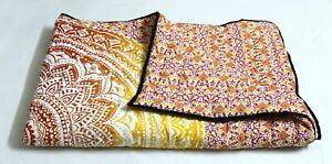 Indian Cotton Handmade Mandala Ethnic Winter Reversible Quilt Razai Coverlet Art