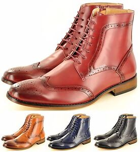 New Mens Chelsea Brogue Ankle Boots Italian Style Leather Lined UK Size 7-12